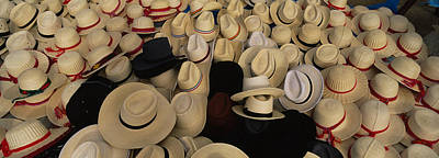 Fedora Photograph - High Angle View Of Hats In A Market by Panoramic Images