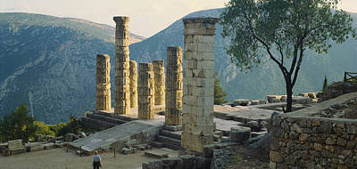 Ancient Civilization Photograph - High Angle View Of Ruined Columns by Panoramic Images
