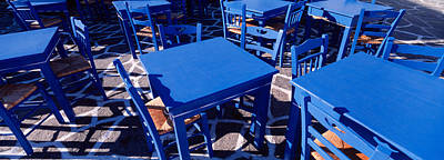 Empty Chairs Photograph - High Angle View Of Tables And Chairs by Panoramic Images