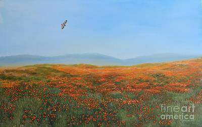 Red Tail Hawk Painting - High Desert Poppies by Gina DeRuggiero