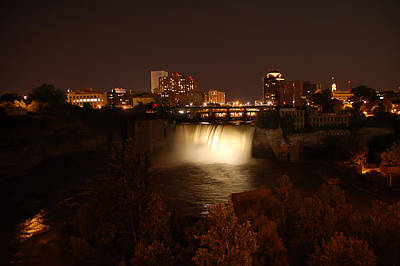 High Falls At Night White Print by Aimee L Maher Photography and Art Visit ALMGallerydotcom