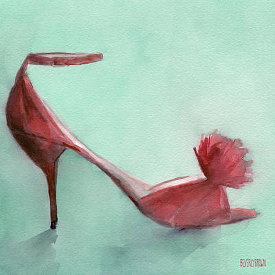 High Heel Red Shoes Painting Print by Beverly Brown