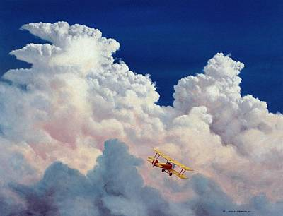 Airplane Painting - High In The Halls Of Freedom by Michael Swanson