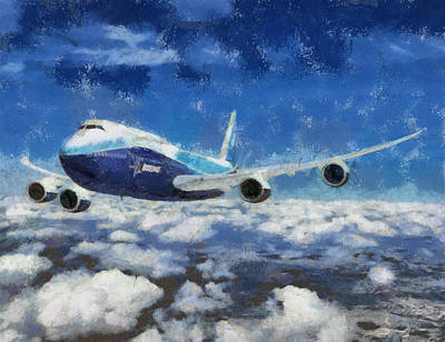 Airliners Painting - High In The Sky by Georgi Dimitrov