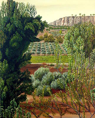 Almond Tree Painting - High Mountain Olive Trees  by Angeles M Pomata