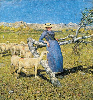 Giovanni Segantini Painting - High Noon In The Alps by Giovanni Segantini