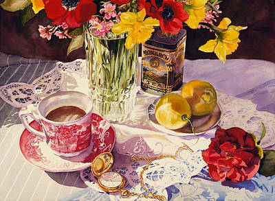 Old Vase Painting - High Tea by Judy Koenig