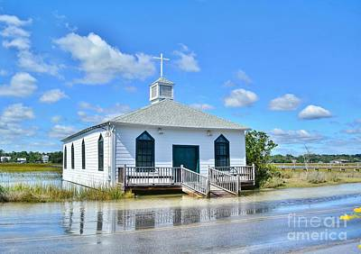 High Tide At Pawleys Island Church Print by Kathy Baccari