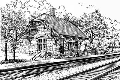 Architecture Drawing - Highlands Train Station by Mary Palmer