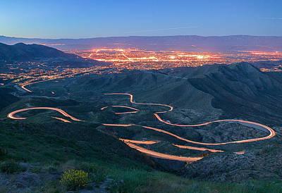 Green Photograph - Highway 74 Palm Desert Ca Vista Point Light Painting by Scott Campbell