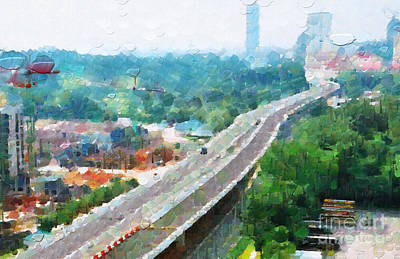 Local Attraction Painting - Highway Leading To Singapore Downtown Painting by George Fedin and Magomed Magomedagaev