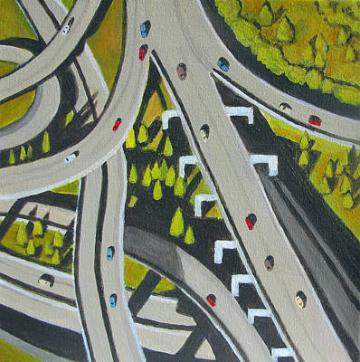 Highway Overpass Print by Toni Silber-Delerive