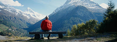 Contemplate Photograph - Hiker Contemplating Mountains by Panoramic Images
