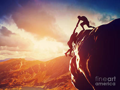 Ambition Photograph - Hiker Giving Hand And Helping In Mountains by Michal Bednarek