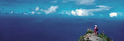 Ledge Photograph - Hiker Pali Kokee State Park Kauai Hi Usa by Panoramic Images