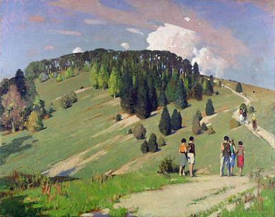 Hikers At Goodwood Downs Print by George F. Henry