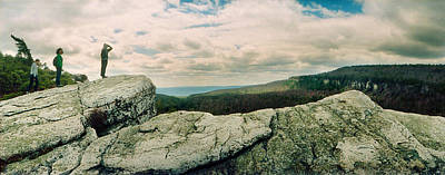 Catskill Photograph - Hikers On Flat Boulders At Gertrudes by Panoramic Images
