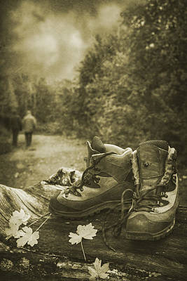 Hiking Boots Print by Amanda Elwell