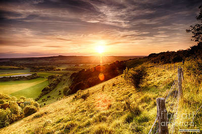 Hill Fence Sunset Print by Simon Bratt Photography LRPS