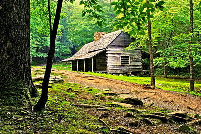 Log Cabin Photograph - Hillbilly Heaven by Frozen in Time Fine Art Photography