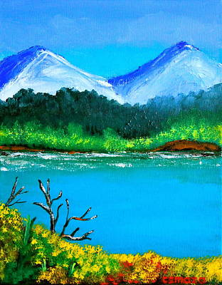 Hills By The Lake Print by Cyril Maza