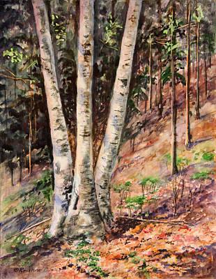 Kristine Painting - Hillside Birch by Kristine Plum