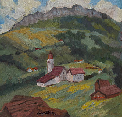 Hill Top Village Painting - Hilltop Village Switzerland by Diane McClary