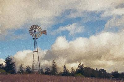 Windmill Mixed Media - Hilltop Windmill by John K Woodruff