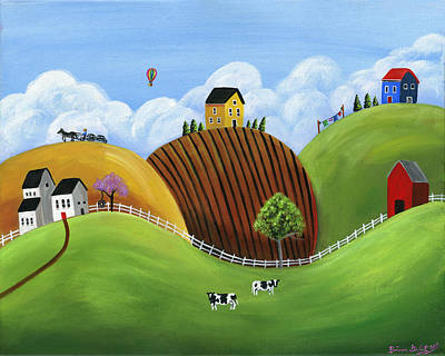 Hilly Homes Print by Brianna Mulvale
