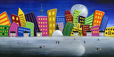 Hockey Art Painting - Hilly Meets Holiday Harbour by Brianna Mulvale