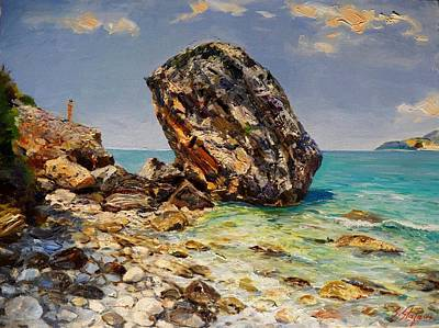 Albania Painting - Himara's Big Rock by Sefedin Stafa