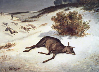 Dogs In Snow Painting - Hind Forced Down In The Snow by Gustave Courbet