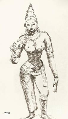 Hindu Goddess Drawing - Hindu Goddess Sivakami by Art By - Ti   Tolpo Bader