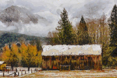 Rural Scenes Mixed Media - Hint Of Winter by Mark Kiver