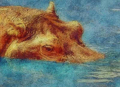 Hippopotamus Digital Art - Hippo - Happened At The Zoo by Jack Zulli