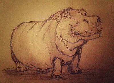 Hippopotamus Drawing - Hippo by Vineeth Menon
