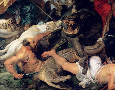Hippopotamus And Crocodile Hunt, C.1615-16 Oil On Canvas Detail See Also 156517 Print by Peter Paul Rubens
