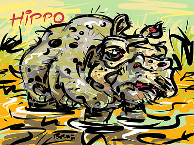 Hippopotamus Drawing - Hippopotamus by Brett LaGue
