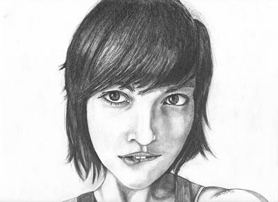 Drawing - Hipster Chick Biting Her Lip by David  Ortiz