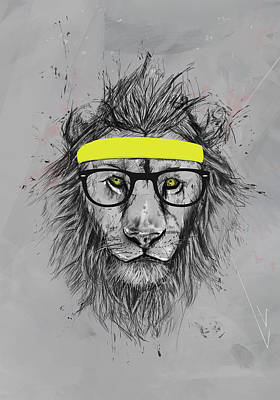 Funny Digital Art - Hipster Lion by Balazs Solti