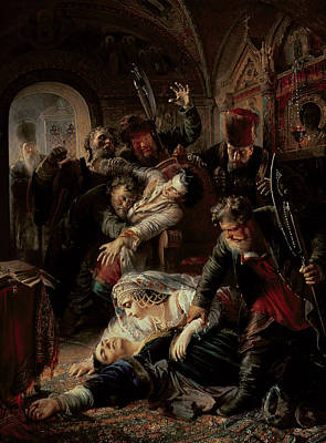 Hired Assassins Killing Tzar Boris Fyodorevich Godunov's Son Print by Konstantin Egorovich Makovsky