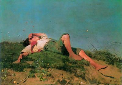 Shepherd Boy Painting - Hirtenknabe  by Franz von Lenbach