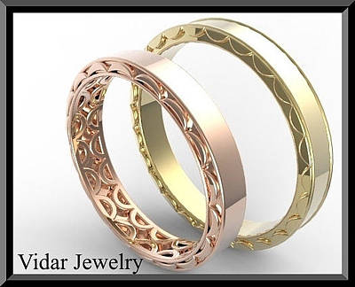 Vidar Jewelry Jewelry - His And Hers 14k Yellow And Rose Matching Wedding Bands Set by Roi Avidar