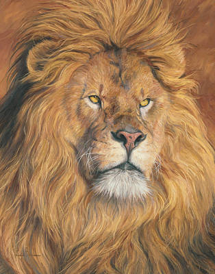 Lion Painting - His Majesty - Detail by Lucie Bilodeau