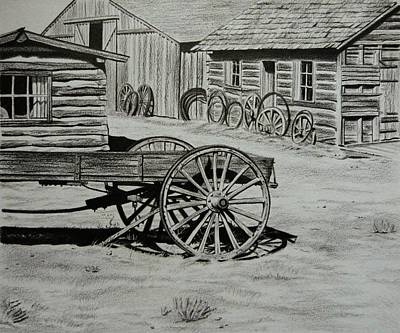 Ghost Towns Drawing - Historic Cabins Cody Wyoming by Lucy Deane