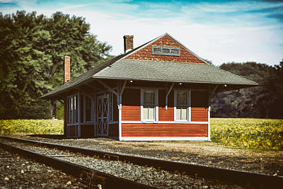 Train Photograph - Historic Greenwood Railroad Station by Bill Swartwout