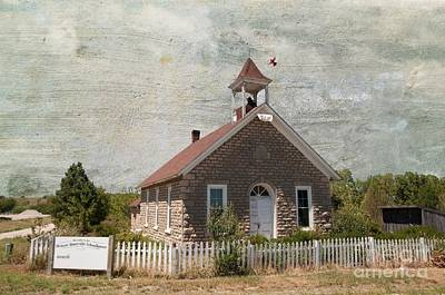 Old School Houses Digital Art - Historic Hinerville School  House  by Liane Wright