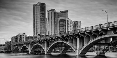 Austin Skyline Photograph - Historic Lamar Boulevard Bridge In Black And White - Austin Texas Hill Country by Silvio Ligutti