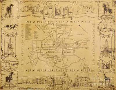 Lexington Drawing - Historic Map Of Lexington Kentucky by David Neace