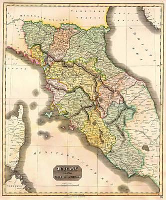 Tuscany Drawing - Historic Map Of Tuscany 1814 by Mountain Dreams
